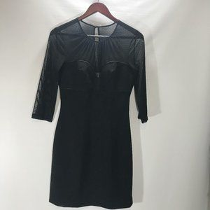 Max and Cleo Dress Sweetheart Sheer Neck Long Slee